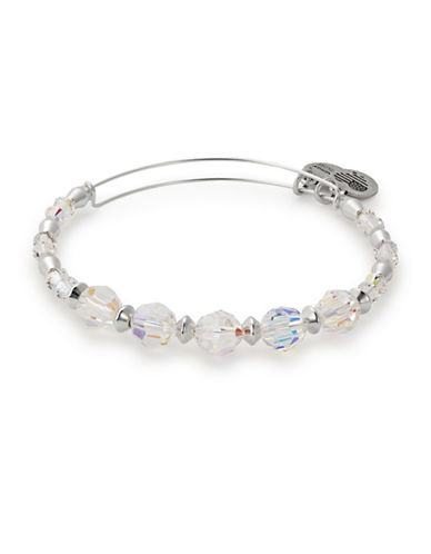 Alex And Ani Swarovski Crystals Frost Beaded Bangle-SILVER-One Size