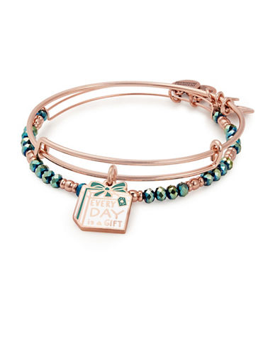 Alex And Ani Two-Piece Swarovski Crystals Everyday is A Gift Charm Bracelet Set-ROSE GOLD-One Size