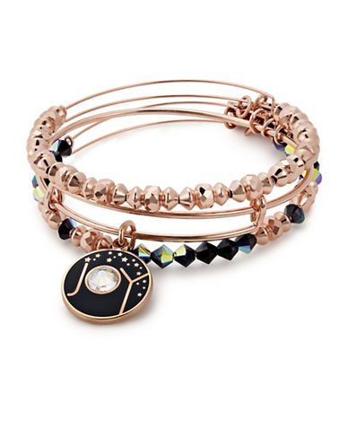 Alex And Ani Three-Piece Swarovski Crystals Joy Charm Bracelet Set-ROSE GOLD-One Size