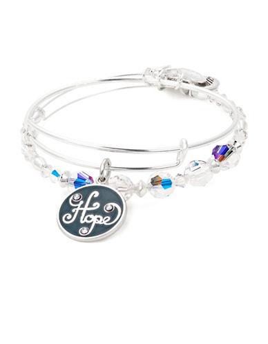 Alex And Ani Two-Piece Swarovski Crystals Hope Charm Bracelet Set-SILVER-One Size