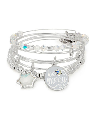 Alex And Ani Four-Piece Swarovski Crystals Be Merry Charm Bracelet Set-SILVER-One Size