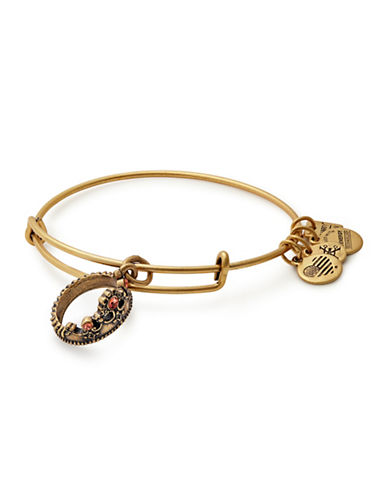 Alex And Ani Queens Crown Swarovski Charm Bangle-GOLD-One Size