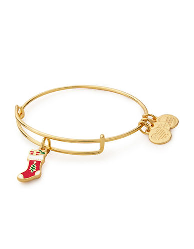 Alex And Ani Expandable Stocking Charm Bracelet-GOLD-One Size