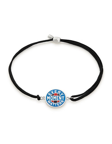 Alex And Ani Every Moment Matters Sterling Silver Pull Cord Bracelet-BLACK-One Size
