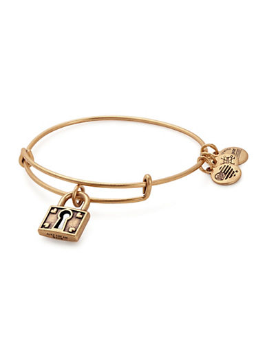 Alex And Ani Unbreakable Love Charm Bangle Bracelet-GOLD-One Size