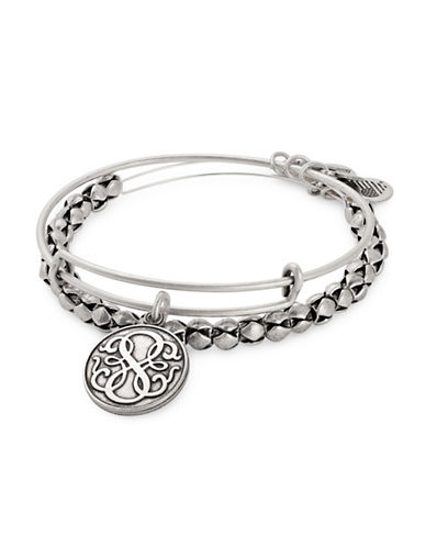 Alex And Ani Set of Two Path of Life Expandable Charm Bangle Bracelets-SILVER-One Size