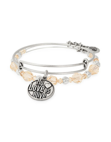 Alex And Ani Set of Two Crystal Love Expandable Charm Bangle Bracelets-SILVER-One Size