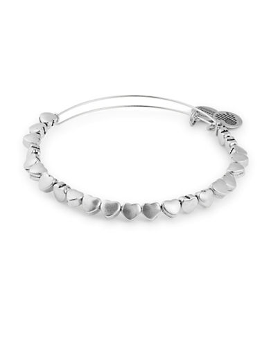 Alex And Ani Beaded Heart Bangle Bracelet-SILVER-One Size
