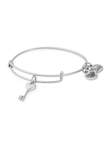 Alex And Ani Key to Love Charm Round Bangle Bracelet-SILVER-One Size