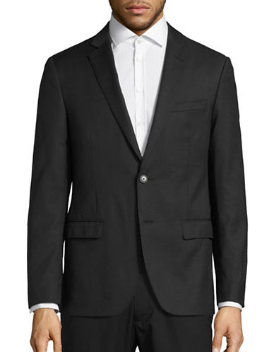 Black Brown 1826 Jack Slim Fit Wool Traveller Suit Jacket-BLACK PINSTRIPE-48 Tall