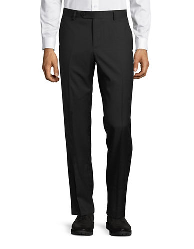 Black Brown 1826 Jack Slim Fit Pindot Wool Dress Pants-BLACK-40X32