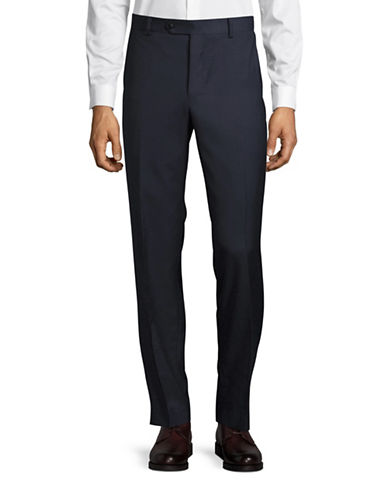 Black Brown 1826 Henry Classic Fit Wool Dress Pants-NAVY-34X32
