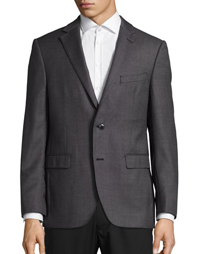 Black Brown 1826 Henry Classic Fit Dotted Wool Traveller Suit Jacket-GREY-42 Short