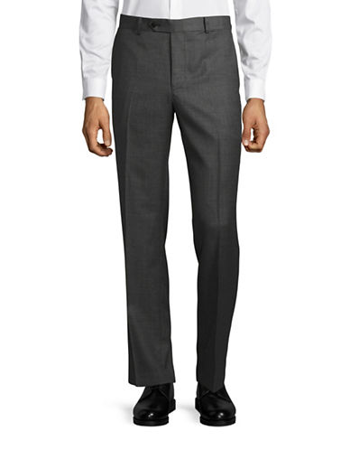 Black Brown 1826 Henry Classic Fit Birdseye Wool Dress Pants-CHARCOAL-34X36