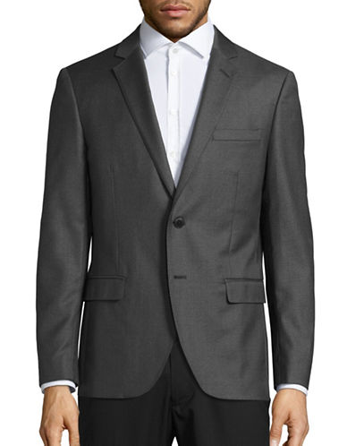 Black Brown 1826 Jack Slim Fit Wool Traveller Suit Jacket-GREY-42 Short