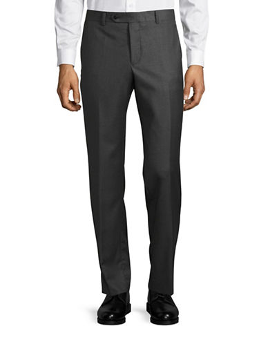 Black Brown 1826 Jack Slim Fit Sharkskin Wool Dress Pants-GREY-34X32