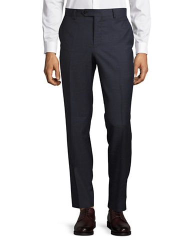 Black Brown 1826 Jack Slim Fit Pindot Wool Pants-BLUE-34X36