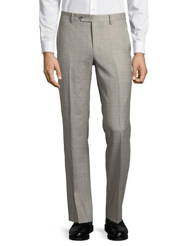 Black Brown 1826 Plaid Wool Pants-GREY-36X36