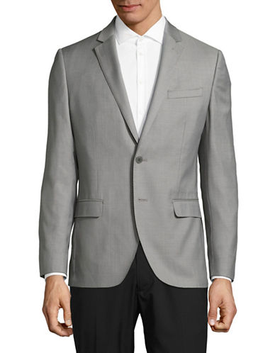 Black Brown 1826 Jack Slim Fit Traveler Wool Suit Jacket-SILVER-44 Regular