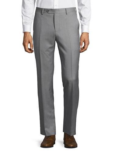 Black Brown 1826 Wool Dress Pants-SILVER-42X36
