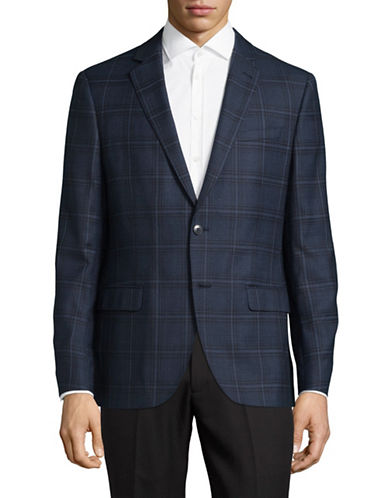 Black Brown 1826 Checkered Wool Suit Jacket-BLUE-44 Tall
