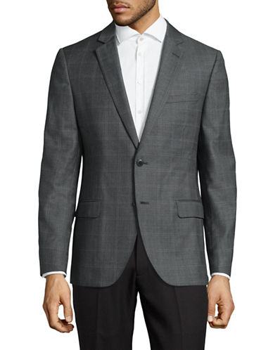 Black Brown 1826 Checkered Wool Suit Jacket-GREY-44 Short