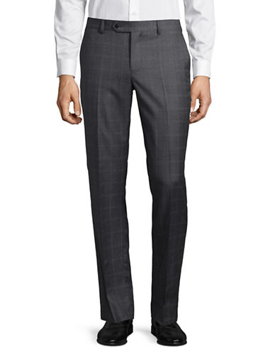 Black Brown 1826 Grid Wool Dress Pants-GREY-34X32