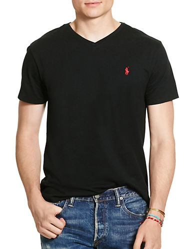 Polo Ralph Lauren Short Sleeved V Neck T Shirt-POLO BLACK-Medium