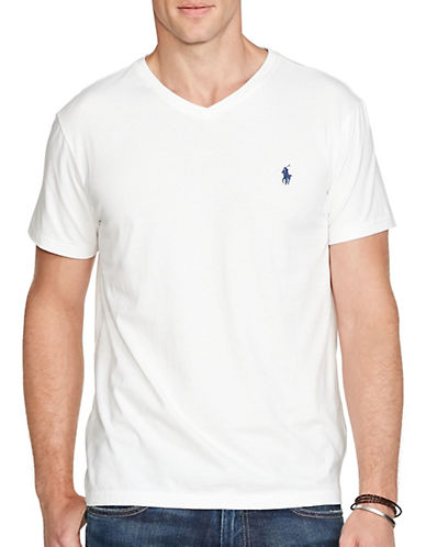 Polo Ralph Lauren Short Sleeved V Neck T Shirt-WHITE-Medium