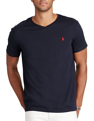 Polo Ralph Lauren Short Sleeved V Neck T Shirt-INK-Medium