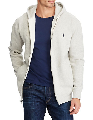 Polo Ralph Lauren Big and Tall Classic Fleece Full-Zip Hoodie-SPORT HEATHER-3X Big