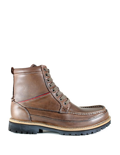 Tommy Hilfiger Leather Chukka Boots-DARK BROWN-8.5
