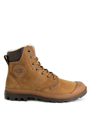Palladium Lace-Up Leather Boots-BROWN-9