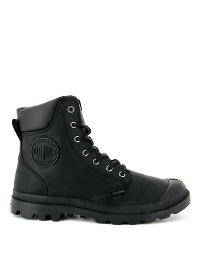 Palladium Lace-Up Leather Boots-BLACK-9