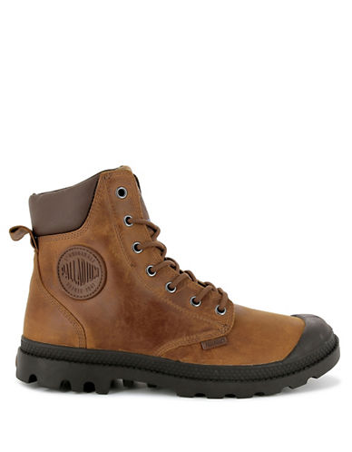 Palladium Lace-Up Leather Boots-DARK BROWN-8