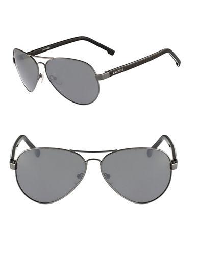 Lacoste L163S Aviator Sunglasses-GUNMETAL-One Size