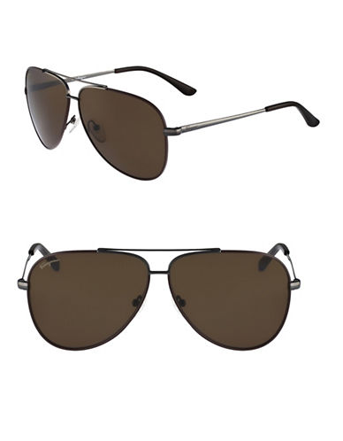 Salvatore Ferragamo SF131S 60mm Aviator Sunglasses-GUNMETAL-One Size