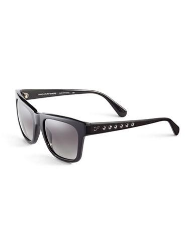 Diane Von Furstenberg Studded Wayfarer Sunglasses-BLACK-One Size