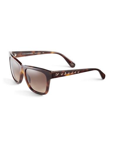 Diane Von Furstenberg Studded Wayfarer Sunglasses-SOFT TORTOISE-One Size