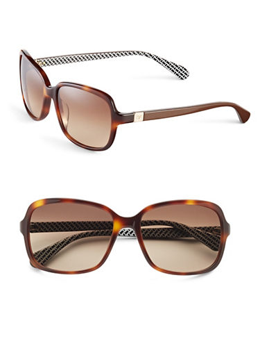 Diane Von Furstenberg 57mm Square Geo Print Sunglasses-TORTOISE-One Size