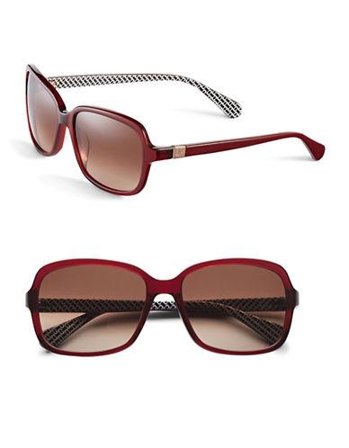 Diane Von Furstenberg 57mm Square Geo Print Sunglasses-RED-One Size