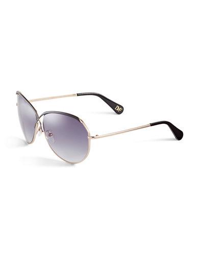 Diane Von Furstenberg Crisscross Aviator Sunglasses-BLACK-One Size