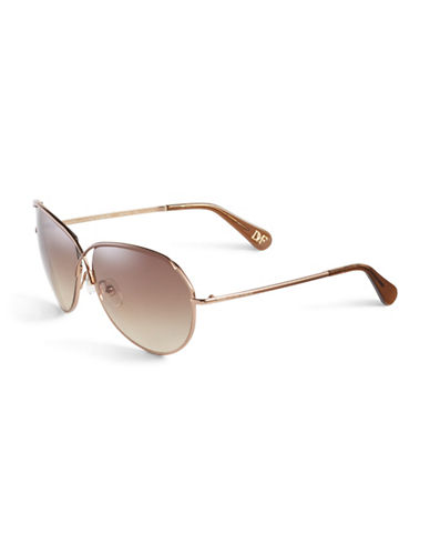 Diane Von Furstenberg Crisscross Aviator Sunglasses-BROWN-One Size