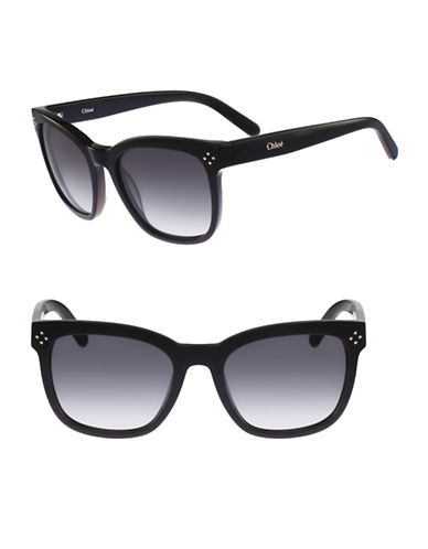 Chloé Boxwood 55mm Square Wayfarer Sunglasses-BLACK-One Size