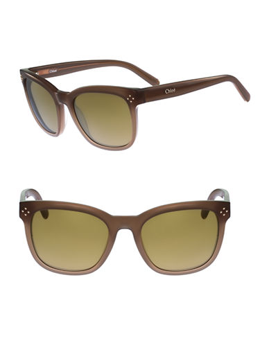 Chloé Boxwood 55mm Square Wayfarer Sunglasses-DOVE-One Size