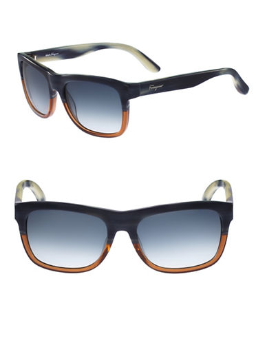 Salvatore Ferragamo SF686S 56mm Wayfarer Sunglasses-BLUE / BROWN-One Size