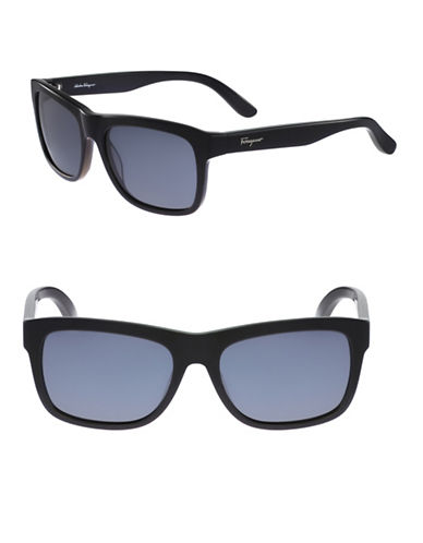 Salvatore Ferragamo 56mm Wrap-Around Wayfarer Sunglasses-BLACK-One Size