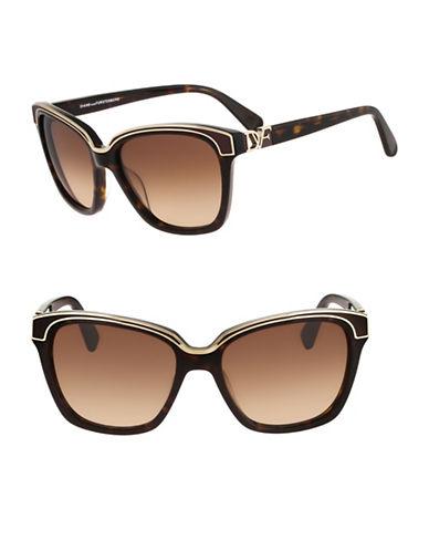 Diane Von Furstenberg Kylie 57mm Square Sunglasses-DARK TORTOISE-One Size