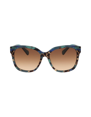 Diane Von Furstenberg Oversized Animal Print Sunglasses-TEAL ANIMAL-One Size