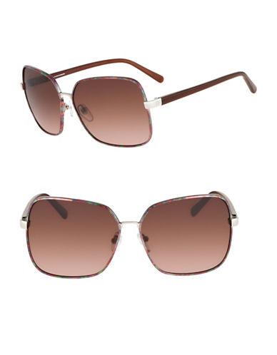 Diane Von Furstenberg Alanna 60mm Square Sunglasses-GOLD MULTI-One Size